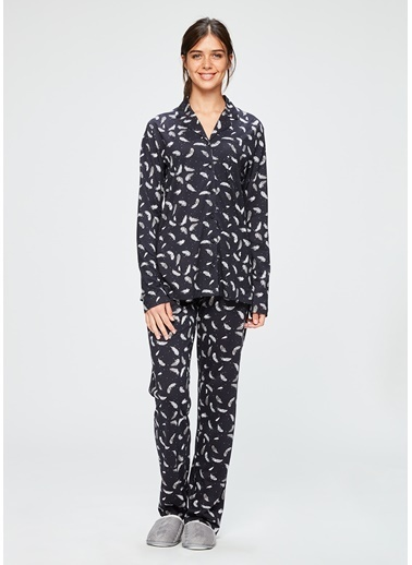 Dagi Gömlek Uzun Kollu Pijama Takımı Siyah